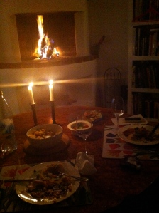 Ingela's fireplace, dark chocolate and whiskey.